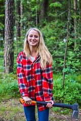 Barunka | Lumberjack´s woman (Cергій Hемировський) Tags: wood nature girl beautiful beauty shirt republic czech axe lumberjack fiskars liberec tschechisch reichenberg czechgirl