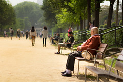 Spring in the park (Nils Croes) Tags: barcelona park people sun canon bench spring 85mm sunny benches 60d