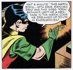 The match code we dreamed up to use in emergencies! (Tom Simpson) Tags: robin illustration vintage comics newspaper code 1940s batman comicstrip 1945 matchbook boywonder matchcode