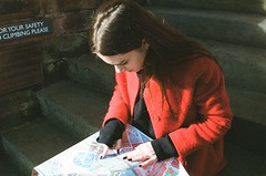 maps (sophia liu / zszophia) Tags: travel autumn red travelling film girl liverpool 35mm map coat maps sophie mouki