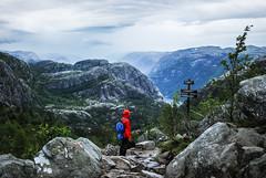 Lysefjord (Karol Majewski) Tags: girl norway clouds landscape hiking fjord scandinavia preikestolen rogaland lysefjord pulpitrock dziewczyna chmury ryfylke krajobraz norwegia wędrówka skandynawia