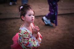 The Prayer (Mitsudomoe) Tags: street portrait color japan digital tokyo kid naturallight yukata kimono matsuri nippori yanaka fixedlens smcpentaxm50mmf17 pentaxk5