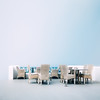 Tischgesellschaft (One_Penny) Tags: aegean greece griechenland island santorin santorini canon6d travel ägäis table chairs sky highkey minimal emptyspace white blue surreal squarecrop elegant imerovigli thira