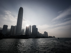 Hong Kong 05 (arsamie) Tags: hong kong china sea island water skyline skyscraper sun contrejour panorama city modern life metropolis downtown asia star ferry