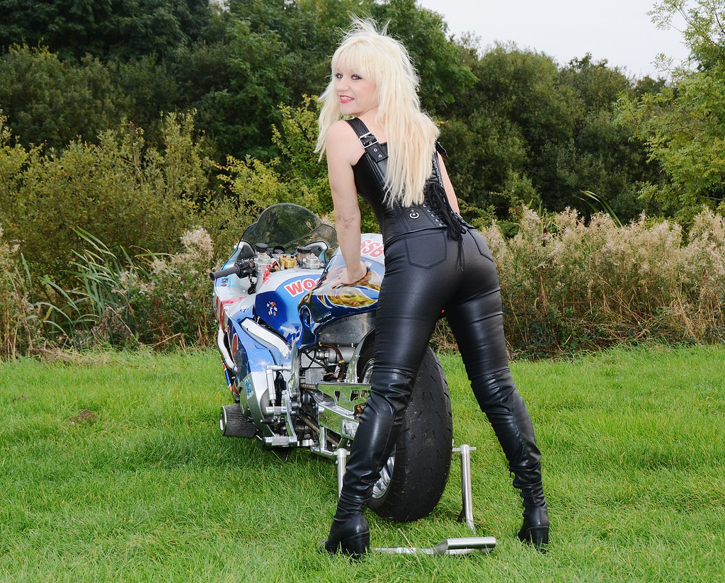 Sexy blonde mature motorcycle babe