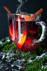 Christmas mulled wine with spices in glass, (lyule4ik) Tags: wine mulled holiday hot christmas spice background tree branch pine wooden warm decoration table slice red punch festive orange fir cinnamon made roll green craft sweet decorated seasonal magic bright glass grog badiana xmas shape tray fruit spiced cup stars baked beautiful alcohol ornaments sticks drink vintage food beverage decor