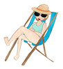 Strandstol 2 (katr.in) Tags: drawing illustration watercolour beach tanning chair