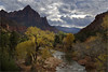 Zion Classic (Sandra OTR) Tags: zion national park utah landscape fall herbst color nature light weather virgin river watchman clouds sunrise sunset