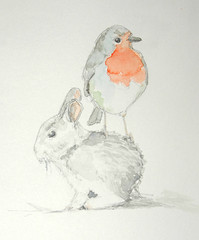 Friends (lwdphoto) Tags: lance duffin lanceduffin watercolor painting art drawing sketching robin bunny rabbit