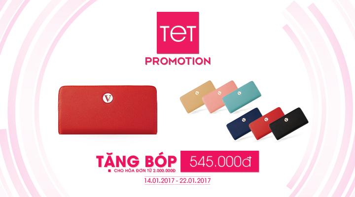 TET Promotion – Tặng bóp 545.000đ cho hóa đơn từ 2 triệu đồng