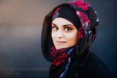 Jamilah [Stranger #19/100] (Vijay Britto Photography) Tags: beautifullady eyes hijab outdoorportraits 100strangers naturallight nikon d750 85mm smile shy gaze dark portrait street