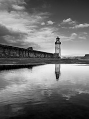 The harbour light reflection 2 (alf.branch) Tags: westcumbria whitehaven whitehavenharbour harbour pier cumbria westpier refelections reflection mono bw blackandwhite