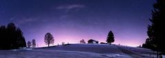 Jura Hills by Night - La Chaux-de-Fonds - Switzerland (Rogg4n) Tags: chauxdefonds switzerland night nightphotography nightscape astro star dawn landscape panorama swiss suisse neuchâtel hills jura mountain snow winter wonderland snowy hiver canoneos80d sigma1835mmf18dchsm sigma canon stars astrophotography sky sykscape nature tree longexposure silhouette farm