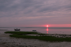 Sunset on the Cape (ho_hokus) Tags: 2015 brewster capecod fujix20 fujifilmx20 ma massachusetts saintslanding beach coast summer sunset shore coastline water boat