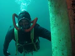 Vintage double hose diver. (Vintage Scuba) Tags: ocean lake man men wet water vintage belt tank mask smooth dry scuba diving rubber double hose suit diver beavertail weight drysuit fins wetsuit rebreather regulator
