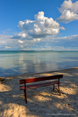 Lake Michigan ... a place, to get, your ponder on (Ken Scott) Tags: summer usa cloud water bench sand michigan july bluesky lakemichigan greatlakes hdr freshwater grandtraversebay leelanau 2015 45thpar