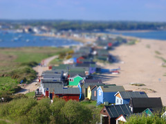 color beach hut tilt shift (chasehilleary) Tags: beach break bright cheerful coloured dorset english getaway harbour holiday hut painted retreat sand sandy sea seaside southcoast trees