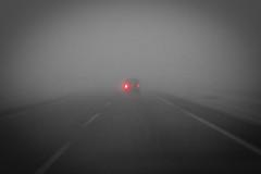 Fog # 2 (pi3rreo) Tags: fog hiver route road brouillard city urban urbain campagne rouge red feu voiture car fujinon fujifilm xe2 flou