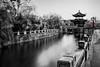 Pagoda on a bridge (Sean X. Liu) Tags: pagoda bridge blackandwhite longexposure river pattern leadinglines selectivecolor serenity rugao jiangsu china monochrome