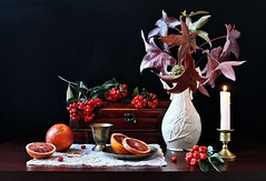Looking Back, Looking Forward - Orthodox New Year (Esther Spektor - Thanks for 12+millions views..) Tags: stilllife naturemorte bodegon naturezamorta stilleben naturamorta composition art creativephotography arrangement artisticphoto orthodoxnewyear tabletop bouquet branch berry food fruit citrus bloodorange vase candleholder casket goblet plate candle napkin slice light cermics wooden metal pattern availablelight red white green golden brown burgundy black estherspektor canon winter