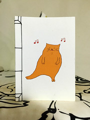 Dancing cat bookbinding notebook (Projects By Jane) Tags: bookbinding japanesestabbookbinding japanesestabbinding