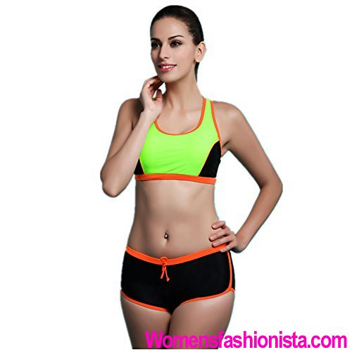 222f731037fb4 Fanssie Womens Workout Racerback Sports bra Bikini Swimwear Boyleg  Swimsuits Review (womensfashionista) Tags