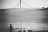 Old but golden (nemanjajovanovic) Tags: zorka4 bridge rivers birds swans people man monochrome monochromatic novisad srbija