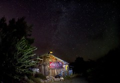 Have a Coke (johnsinclair8888) Tags: stars ghsottown nelson lasvegas nikon longexposure iso5000 sigma 15mm wideangle milkyway spooky oldbuilding