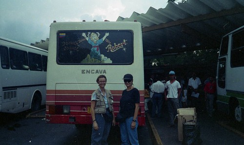 Deb and Kaye preparing to board a bus in Ciudad Bolivar