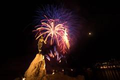 Fireworks Opatija (Tomislav C.) Tags: city travel sea summer sky moon tourism statue festival night fun coast long exposure fireworks croatia event destination opatija hrvatska primorskogoranskaupanija pentaxk3 girlwithaseagull