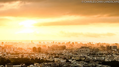 Taichung city at sunset (charles chai) Tags: city sunset mist golden olympus taichung em5