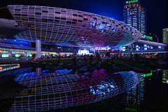 Shanghai - Wujiaochang (cnmark) Tags: china shanghai yangpu district wujiaochang futuristic square plaza space light night nacht nachtaufnahme noche nuit notte noite reflection reflections 中国 上海 杨浦区 五角场 ©allrightsreserved longexposure langzeitbelichtung