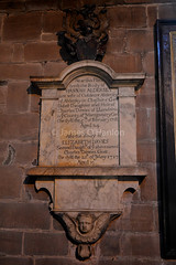 Memorial on wall (James O'Hanlon) Tags: chester cheshire john baptist johnthebaptist church cathedral ruins norman medieval effigy stained glass chapel saint st