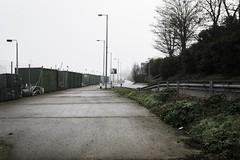 Dismal (Number Johnny 5) Tags: lines tamron d750 2470mm east gb riverside mundane anglia imanoot banal boring gorleston tarmac norfolk nikon green foggy misty uk road