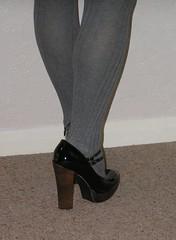 Black twin strap, brown heels (clared02) Tags: greytights maryjanes twinstrap