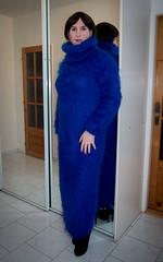 Fluffy mohair (blackietv) Tags: blue fluffy angora mohair sweater turtleneck dress long mirror tgirl transvestite crossdresser crossdressing transgender stiletto heels