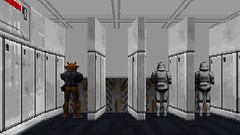 Interrupting the Peeing (BarricadeCaptures) Tags: star wars dark forces ramsees hed deadly cargo urinals peeing imperial stormtroopers gran game screenshot screencap