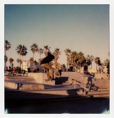 Venice Sk8r 10 (tobysx70) Tags: the impossible project tip polaroid slr680 frankenroid sx70 door rollers color film for 600 type cameras impossaroid sk8r venice beach skate park los angeles la california ca skater skateboarder airborne jump shadows palms palmtree polawalk 121716 toby hancock photography