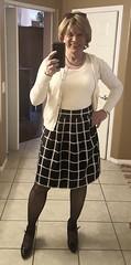 black and white (krislagreen) Tags: tg tgirl tv transgender transvestite cd crossdress skirt hose heels cardi twinset femme feminized feminization feminine blond