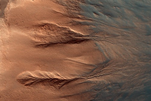Contrasting Colors of Crater Dunes and Gullies