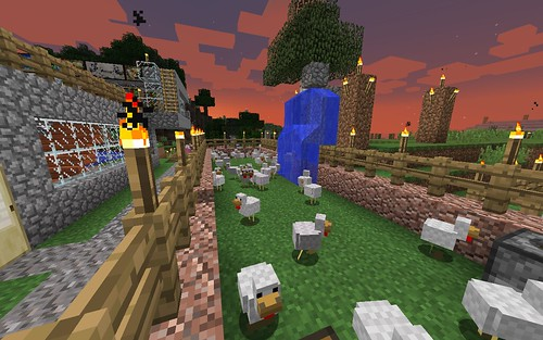 Sunset on my Minecraft Chicken Coop by Wesley Fryer, on Flickr