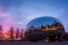 Good morning, Chi-town ☀ (Lee Chu) Tags: project365 sel1855 sonynex6 chicago illinois unitedstates cloudgate thebean millenniumpark sunrise michiganavenue bluehour sculpture loop downtown