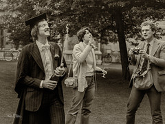 Where's the Cork?  Nigel celebrates as Colette seeks the cork and James misses the decisive moment. Hertford Old Quad, Trinity Term, 1980. (Jon Fitton) Tags: champagne camera finals hertfordcollege