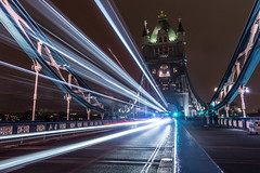 Tower Bridge (Richard Croft136) Tags: london england united kingdom capitol city tower bridge night long exposure land mark landmark light trails painting with capital sony rx100 compact camera manfrotto mp1bk pocket tripod adobe lightroom river thames pedestrians street photography nut seller dark darkness lighting bus traffic car vehicle railings cast iron steel water sky blue white architecture building nightscape scape landscape skyline
