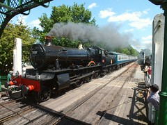 BR Built Dinmore Manor No. 7820 approaching North Weald Station. Great Western Weekend, Epping Ongar Railway. 07 06 2015 (pnb511) Tags: heritage train smoke engine rail railway loco trains steam locomotive steamgala eppingongarrailway northwealdstation greatwesternweekend