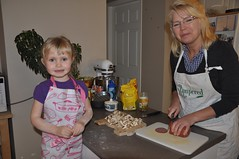"""Helping"" Grammie make bday pizza ;)"