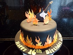 Rock Guitar Cake (Victorious_Sponge) Tags: birthday black cake rock electric guitar flames round 16th