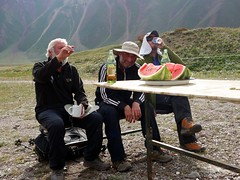 """Derek and Mike enjoy a water melon • <a style=""""font-size:0.8em;"""" href=""""http://www.flickr.com/photos/41849531@N04/20268825859/"""" target=""""_blank"""">View on Flickr</a>"""