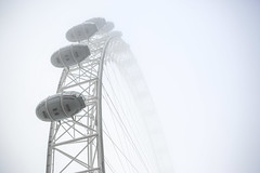 London Eye In The Fog by Simon & His Camera (Simon & His Camera) Tags: mist fog london londoneye city white architecture winter round circle simonandhiscamera iconic lines lookingup monochrome metal outdoor sky urban