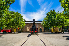 DSC00036 (Damir Govorcin Photography) Tags: steam crane history trees natural light sky clouds australian technology park sydney eveleigh leading lines rail tracks composition creative perspective zeiss 1635mm sony a7rii colours architecture